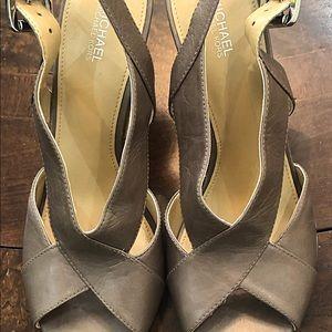 Sling back high heeled sandals